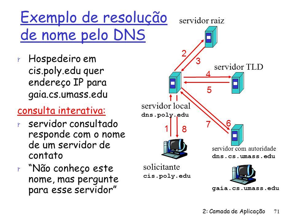 2: Camada de Aplicação71 solicitante cis.poly.edu gaia.cs.umass.edu servidor raiz servidor local dns.poly.edu 1 2 3 4 5 6 servidor com autoridade dns.cs.umass.edu 7 8 servidor TLD Exemplo de resolução de nome pelo DNS r Hospedeiro em cis.poly.edu quer endereço IP para gaia.cs.umass.edu consulta interativa: r servidor consultado responde com o nome de um servidor de contato r Não conheço este nome, mas pergunte para esse servidor