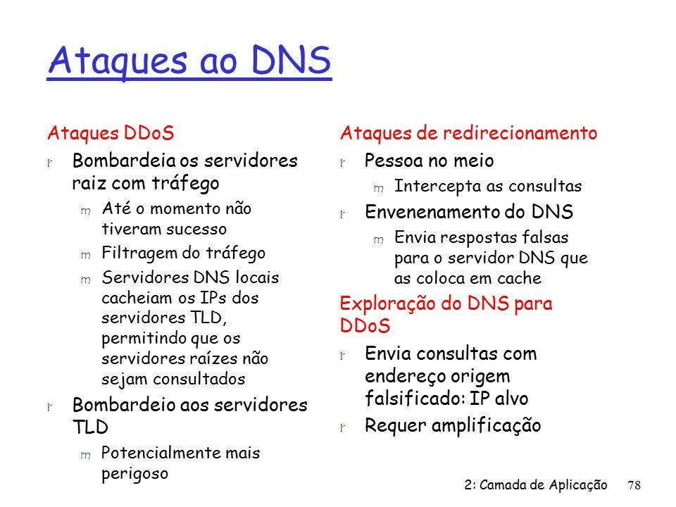 Ataques ao DNS Ataques DDoS r Bombardeia os servidores raiz com tráfego m Até o momento não tiveram sucesso m Filtragem do tráfego m Servidores DNS locais cacheiam os IPs dos servidores TLD, permitindo que os servidores raízes não sejam consultados r Bombardeio aos servidores TLD m Potencialmente mais perigoso Ataques de redirecionamento r Pessoa no meio m Intercepta as consultas r Envenenamento do DNS m Envia respostas falsas para o servidor DNS que as coloca em cache Exploração do DNS para DDoS r Envia consultas com endereço origem falsificado: IP alvo r Requer amplificação 2: Camada de Aplicação78