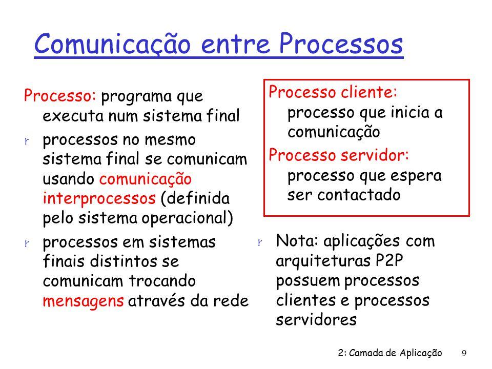 2: Camada de Aplicação110 Exemplo: servidor Java (TCP), cont DataOutputStream paraCliente = new DataOutputStream(socketConexão.getOutputStream()) ; fraseCliente= doCliente.readLine(); fraseEmMaiusculas= fraseCliente.toUpperCase() + \n ; paraCliente.writeBytes(fraseEmMaiusculas); } Lê linha do socket Cria fluxo de saída, ligado ao socket Escreve linha ao socket Final do laço while, volta ao início e aguarda conexão de outro cliente