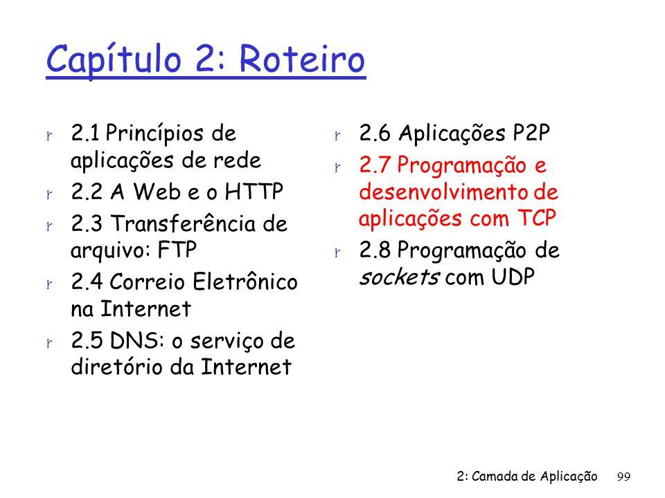 2: Camada de Aplicação99 Capítulo 2: Roteiro r 2.1 Princípios de aplicações de rede r 2.2 A Web e o HTTP r 2.3 Transferência de arquivo: FTP r 2.4 Correio Eletrônico na Internet r 2.5 DNS: o serviço de diretório da Internet r 2.6 Aplicações P2P r 2.7 Programação e desenvolvimento de aplicações com TCP r 2.8 Programação de sockets com UDP