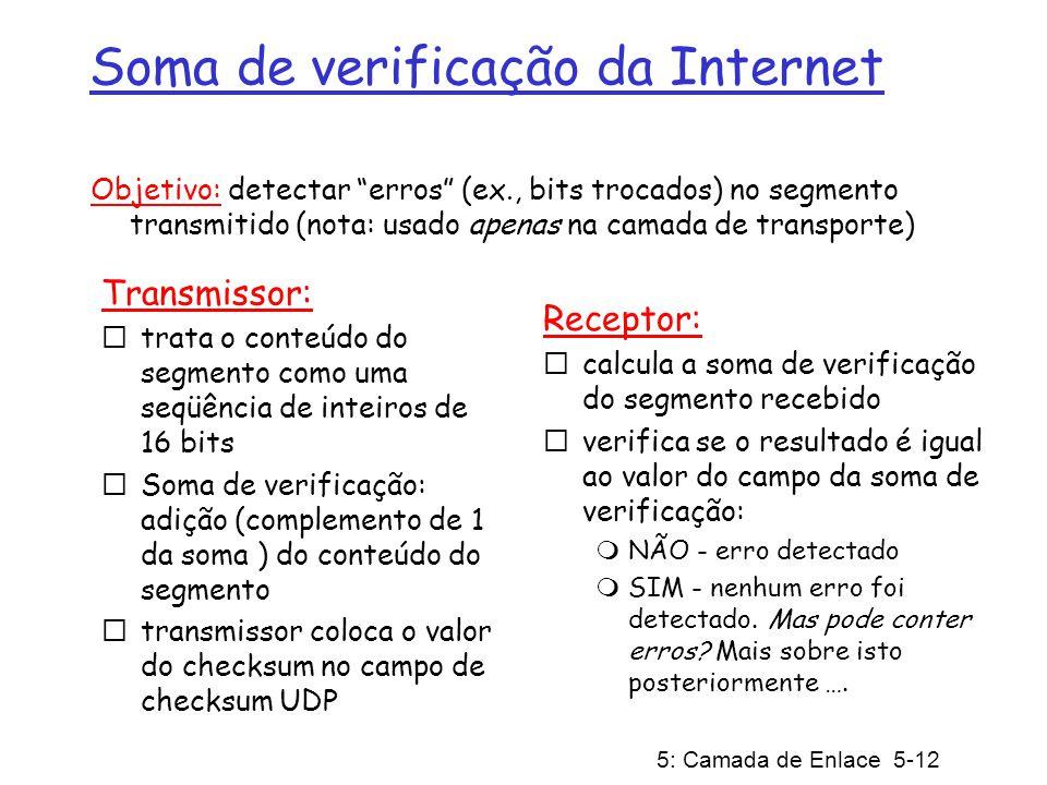 5: Camada de Enlace 5-12 Soma de verificação da Internet Transmissor: trata o conteúdo do segmento como uma seqüência de inteiros de 16 bits Soma de verificação: adição (complemento de 1 da soma ) do conteúdo do segmento transmissor coloca o valor do checksum no campo de checksum UDP Receptor: calcula a soma de verificação do segmento recebido verifica se o resultado é igual ao valor do campo da soma de verificação: NÃO - erro detectado SIM - nenhum erro foi detectado.