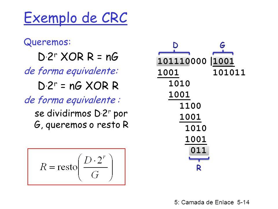 5: Camada de Enlace 5-14 Exemplo de CRC Queremos: D. 2 r XOR R = nG de forma equivalente: D. 2 r = nG XOR R de forma equivalente : se dividirmos D. 2