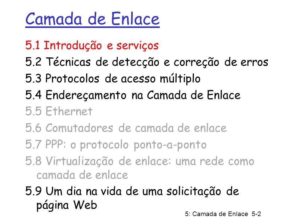 5: Camada de Enlace 5-2 Camada de Enlace 5.1 Introdução e serviços 5.2 Técnicas de detecção e correção de erros 5.3 Protocolos de acesso múltiplo 5.4