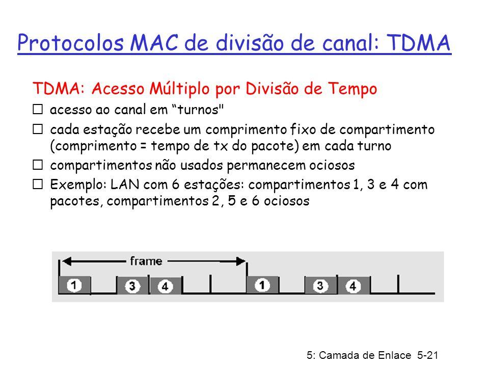 5: Camada de Enlace 5-21 Protocolos MAC de divisão de canal: TDMA TDMA: Acesso Múltiplo por Divisão de Tempo acesso ao canal em turnos cada estação recebe um comprimento fixo de compartimento (comprimento = tempo de tx do pacote) em cada turno compartimentos não usados permanecem ociosos Exemplo: LAN com 6 estações: compartimentos 1, 3 e 4 com pacotes, compartimentos 2, 5 e 6 ociosos