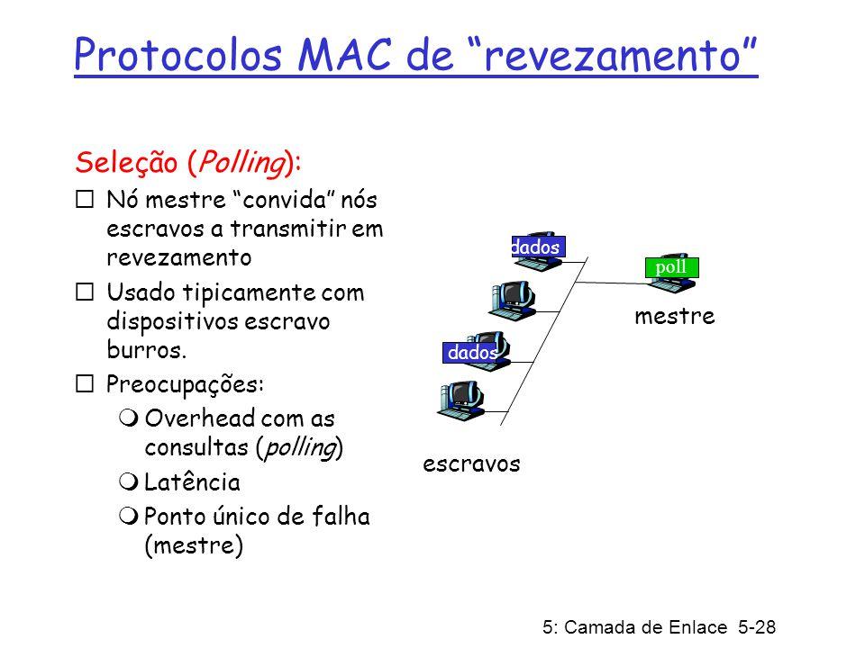 5: Camada de Enlace 5-28 Protocolos MAC de revezamento Seleção (Polling): Nó mestre convida nós escravos a transmitir em revezamento Usado tipicamente