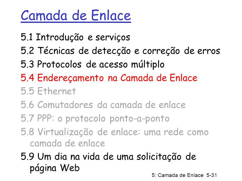 5: Camada de Enlace 5-31 Camada de Enlace 5.1 Introdução e serviços 5.2 Técnicas de detecção e correção de erros 5.3 Protocolos de acesso múltiplo 5.4 Endereçamento na Camada de Enlace 5.5 Ethernet 5.6 Comutadores da camada de enlace 5.7 PPP: o protocolo ponto-a-ponto 5.8 Virtualização de enlace: uma rede como camada de enlace 5.9 Um dia na vida de uma solicitação de página Web