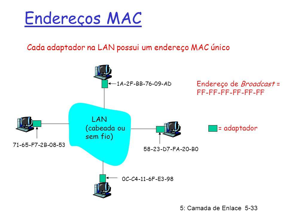 5: Camada de Enlace 5-33 Endereços MAC Cada adaptador na LAN possui um endereço MAC único Endereço de Broadcast = FF-FF-FF-FF-FF-FF = adaptador 1A-2F-BB-76-09-AD 58-23-D7-FA-20-B0 0C-C4-11-6F-E3-98 71-65-F7-2B-08-53 LAN (cabeada ou sem fio)