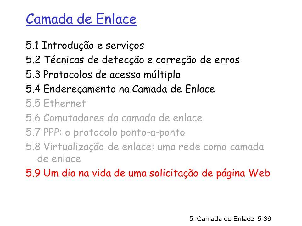 5: Camada de Enlace 5-36 Camada de Enlace 5.1 Introdução e serviços 5.2 Técnicas de detecção e correção de erros 5.3 Protocolos de acesso múltiplo 5.4 Endereçamento na Camada de Enlace 5.5 Ethernet 5.6 Comutadores da camada de enlace 5.7 PPP: o protocolo ponto-a-ponto 5.8 Virtualização de enlace: uma rede como camada de enlace 5.9 Um dia na vida de uma solicitação de página Web