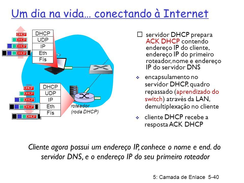 5: Camada de Enlace 5-40 roteador (roda DHCP) servidor DHCP prepara ACK DHCP contendo endereço IP do cliente, endereço IP do primeiro roteador, nome e