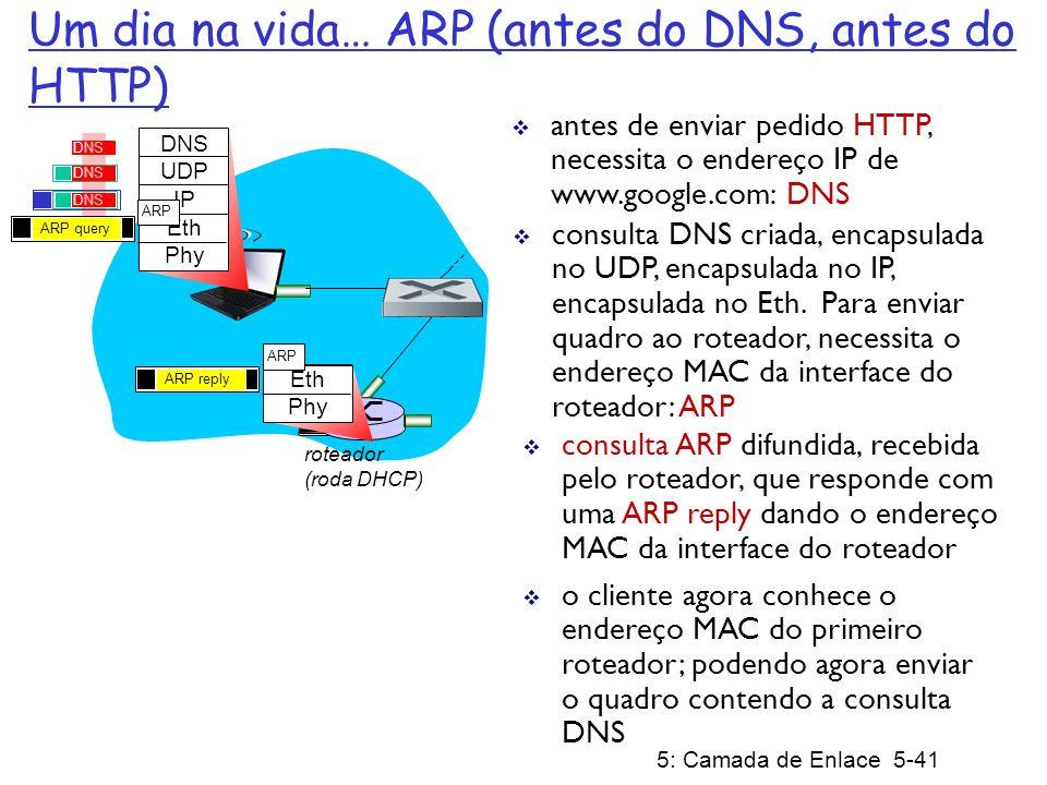 5: Camada de Enlace 5-41 roteador (roda DHCP) Um dia na vida… ARP (antes do DNS, antes do HTTP) DNS UDP IP Eth Phy DNS consulta DNS criada, encapsulada no UDP, encapsulada no IP, encapsulada no Eth.
