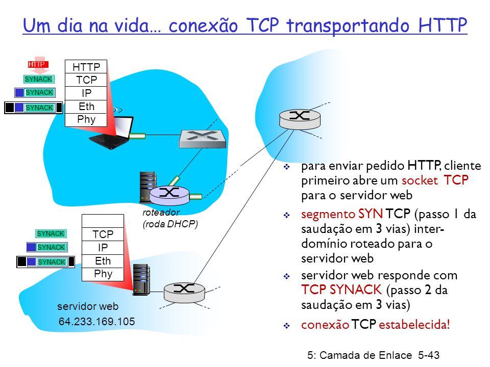 5: Camada de Enlace 5-43 roteador (roda DHCP) Um dia na vida… conexão TCP transportando HTTP HTTP TCP IP Eth Phy HTTP para enviar pedido HTTP, cliente primeiro abre um socket TCP para o servidor web segmento SYN TCP (passo 1 da saudação em 3 vias) inter- domínio roteado para o servidor web conexão TCP estabelecida.