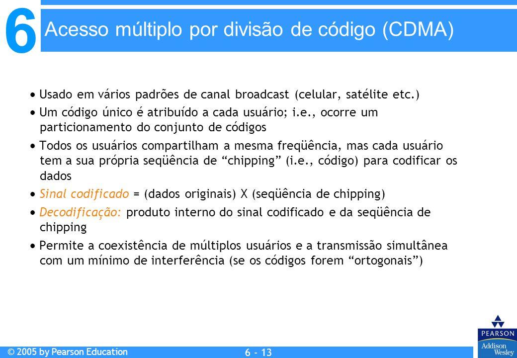 6 © 2005 by Pearson Education 6 - 13 Usado em vários padrões de canal broadcast (celular, satélite etc.) Um código único é atribuído a cada usuário; i