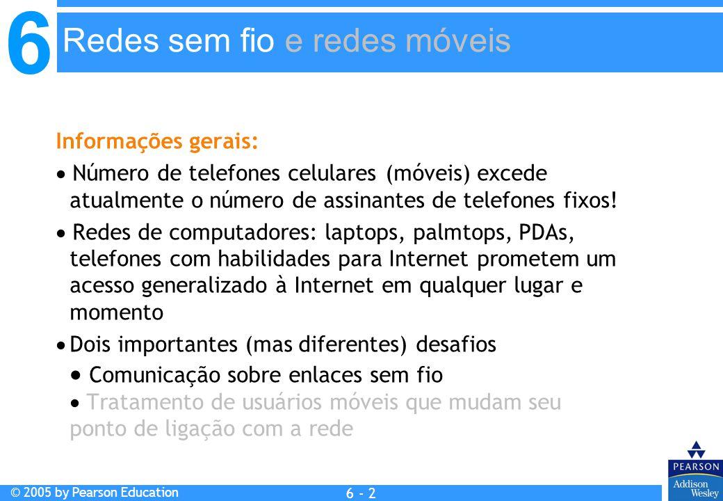 6 © 2005 by Pearson Education 6 - 3 6.1 Introdução Sem fio 6.2 Enlaces sem fio, características CDMA 6.3 IEEE 802.11 LANs sem fio (wi-fi) 6.4 Acesso celular à Internet Arquitetura Padrões (ex.: GSM) Mobilidade 6.5 Princípios: endereçamento e roteamento para usuários móveis 6.6 IP móvel 6.7 Tratando mobilidade em redes celulares 6.8 Mobilidade e protocolos de alto nível 6.9 Resumo Resumo