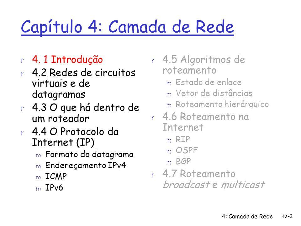 4: Camada de Rede 4a-73 Outras mudanças em relação ao IPv4 r Checksum: removido completamente para reduzir tempo de processamento a cada roteador r Opções: permitidas, porém fora do cabeçalho, indicadas pelo campo Próximo Cabeçalho r ICMPv6: versão nova de ICMP m tipos adicionais de mensagens, p.ex.