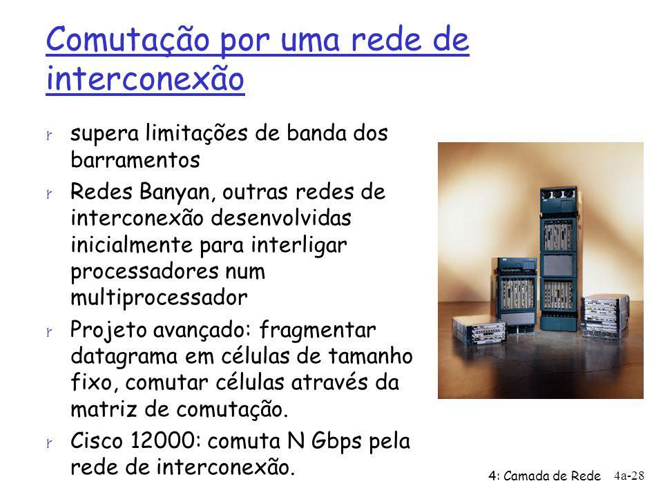 4: Camada de Rede 4a-28 Comutação por uma rede de interconexão r supera limitações de banda dos barramentos r Redes Banyan, outras redes de interconex