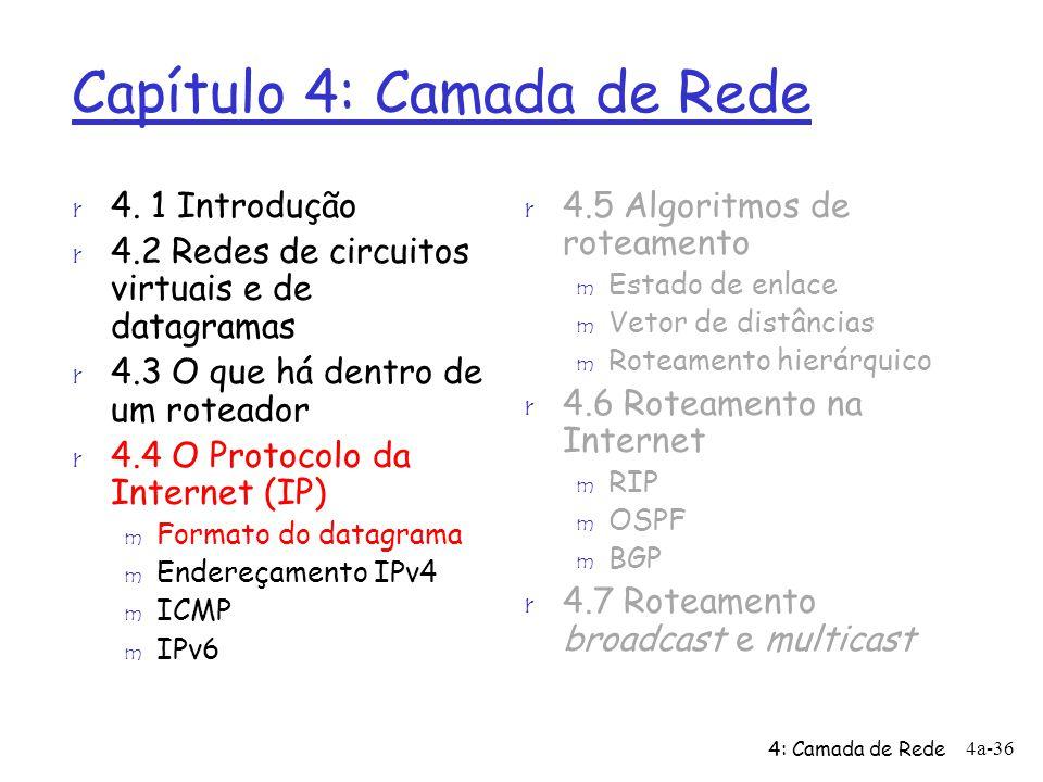 4: Camada de Rede 4a-36 Capítulo 4: Camada de Rede r 4.5 Algoritmos de roteamento m Estado de enlace m Vetor de distâncias m Roteamento hierárquico r