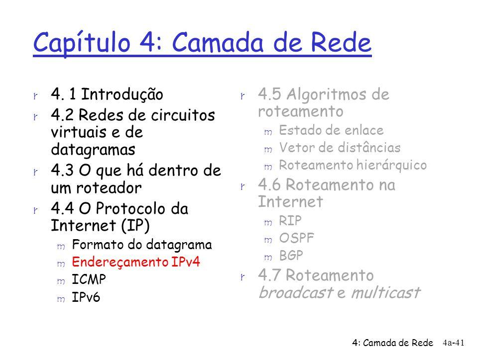4: Camada de Rede 4a-41 Capítulo 4: Camada de Rede r 4.5 Algoritmos de roteamento m Estado de enlace m Vetor de distâncias m Roteamento hierárquico r