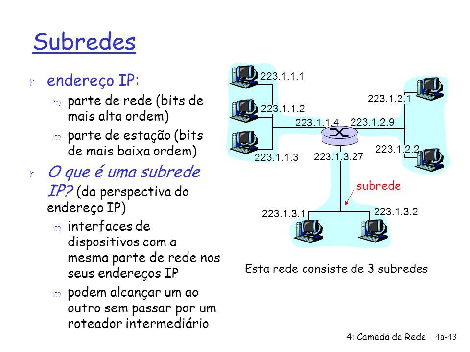 4: Camada de Rede 4a-43 Subredes r endereço IP: m parte de rede (bits de mais alta ordem) m parte de estação (bits de mais baixa ordem) r O que é uma