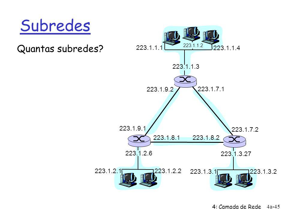 4: Camada de Rede 4a-45 Subredes Quantas subredes? 223.1.1.1 223.1.1.3 223.1.1.4 223.1.2.2 223.1.2.1 223.1.2.6 223.1.3.2 223.1.3.1 223.1.3.27 223.1.1.