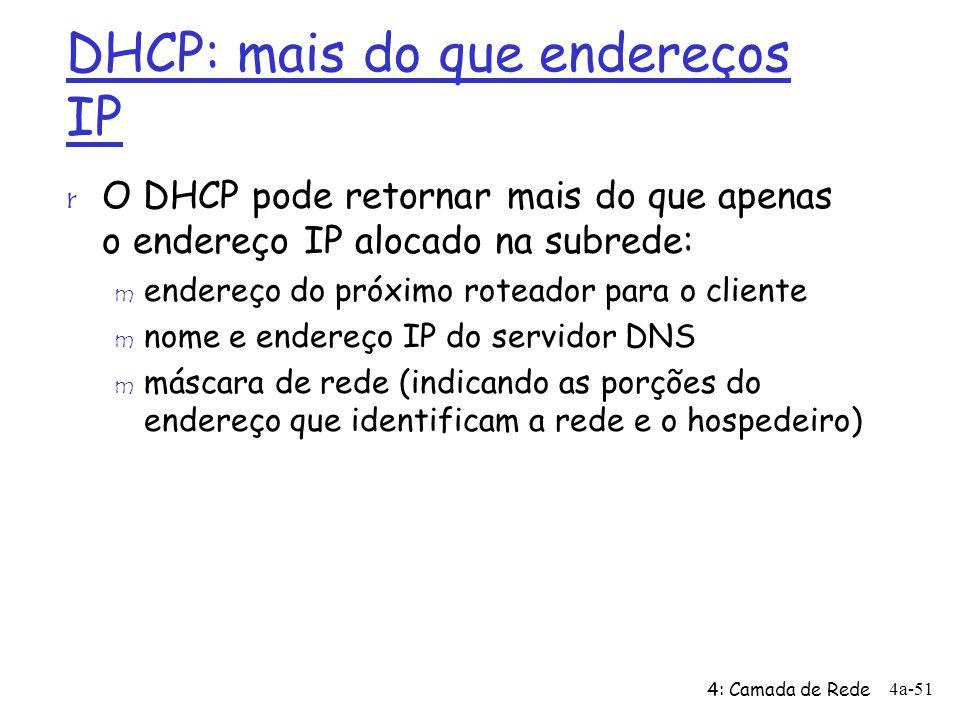 DHCP: mais do que endereços IP r O DHCP pode retornar mais do que apenas o endereço IP alocado na subrede: m endereço do próximo roteador para o clien