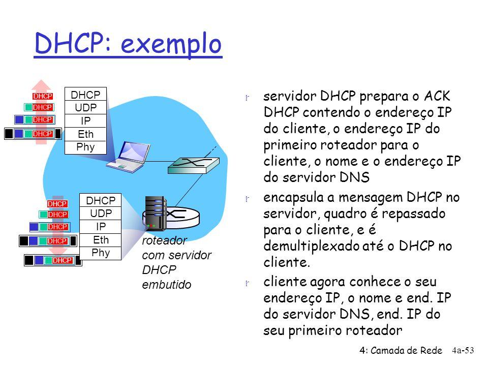 DHCP: exemplo r servidor DHCP prepara o ACK DHCP contendo o endereço IP do cliente, o endereço IP do primeiro roteador para o cliente, o nome e o ende