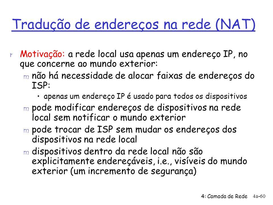 4: Camada de Rede 4a-60 r Motivação: a rede local usa apenas um endereço IP, no que concerne ao mundo exterior: m não há necessidade de alocar faixas
