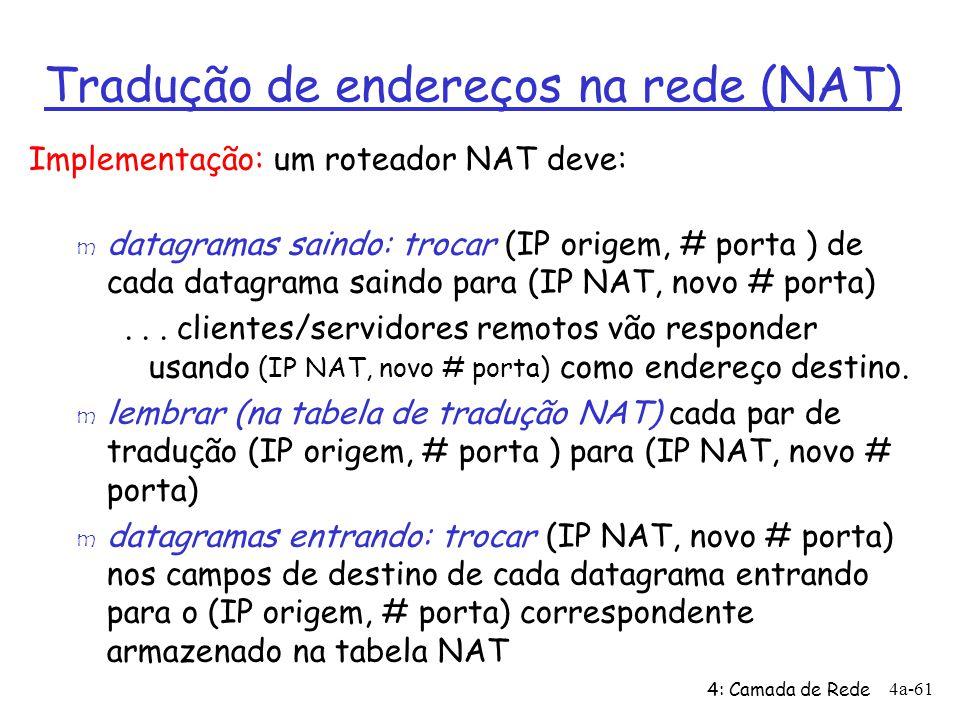 4: Camada de Rede 4a-61 Tradução de endereços na rede (NAT) Implementação: um roteador NAT deve: m datagramas saindo: trocar (IP origem, # porta ) de