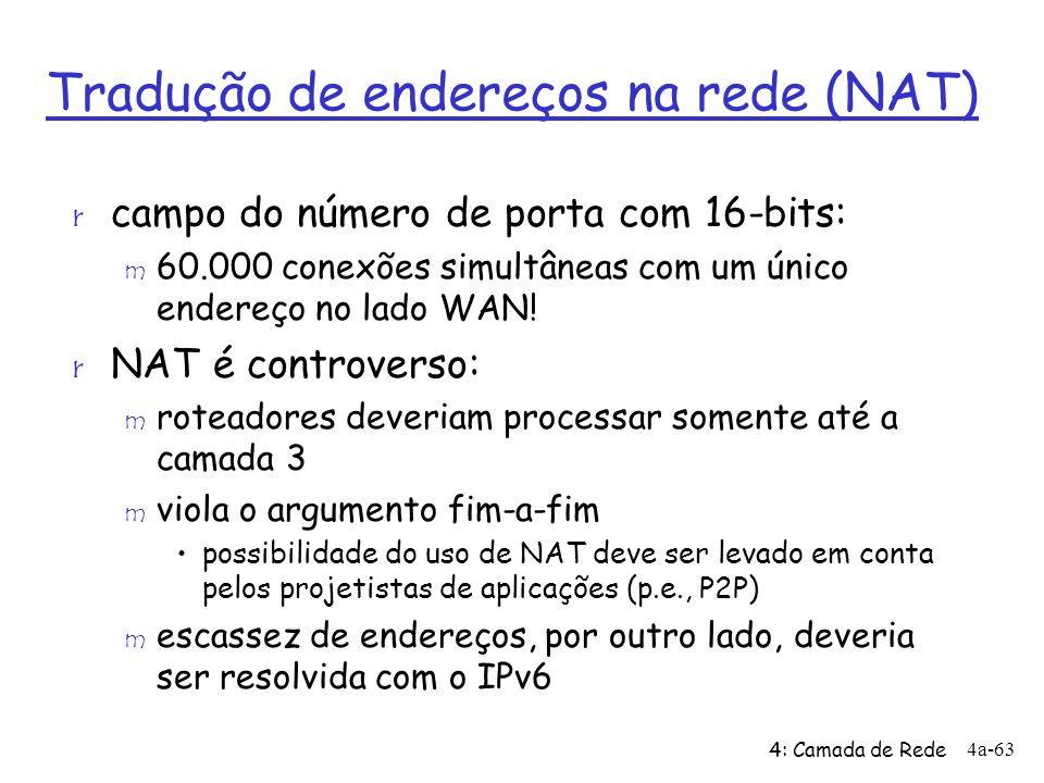 4: Camada de Rede 4a-63 Tradução de endereços na rede (NAT) r campo do número de porta com 16-bits: m 60.000 conexões simultâneas com um único endereç