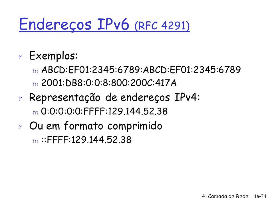 Endereços IPv6 (RFC 4291) r Exemplos: m ABCD:EF01:2345:6789:ABCD:EF01:2345:6789 m 2001:DB8:0:0:8:800:200C:417A r Representação de endereços IPv4: m 0:
