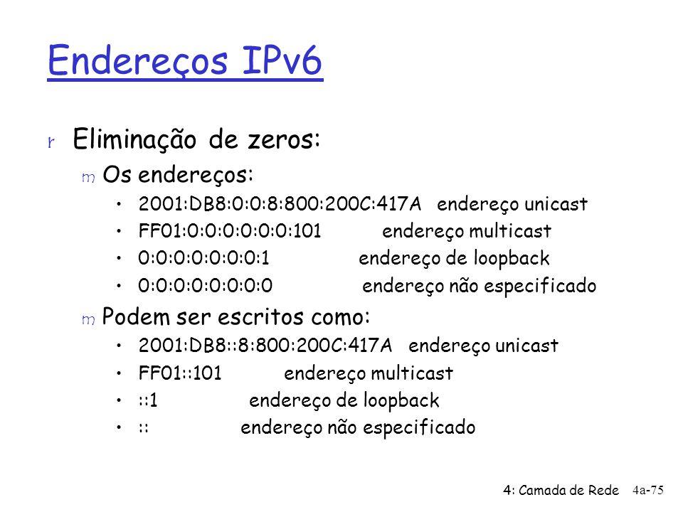 Endereços IPv6 r Eliminação de zeros: m Os endereços: 2001:DB8:0:0:8:800:200C:417A endereço unicast FF01:0:0:0:0:0:0:101 endereço multicast 0:0:0:0:0:
