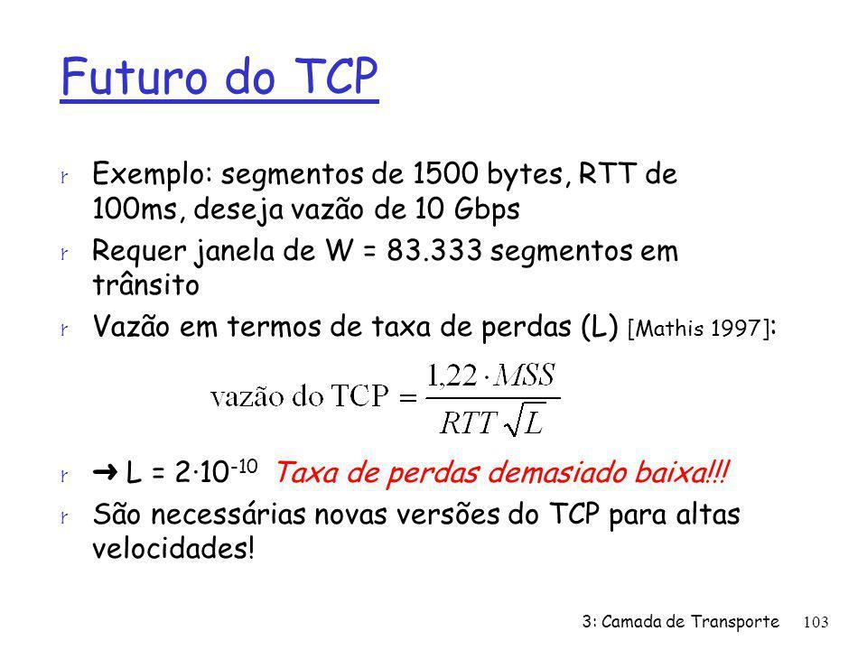 Futuro do TCP r Exemplo: segmentos de 1500 bytes, RTT de 100ms, deseja vazão de 10 Gbps r Requer janela de W = 83.333 segmentos em trânsito r Vazão em