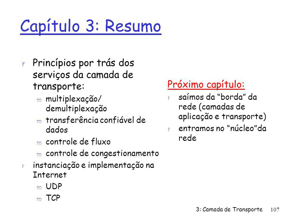 Capítulo 3: Resumo r Princípios por trás dos serviços da camada de transporte: m multiplexação/ demultiplexação m transferência confiável de dados m c