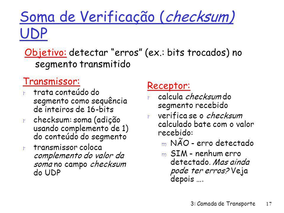 Soma de Verificação (checksum) UDP Transmissor: r trata conteúdo do segmento como sequência de inteiros de 16-bits r checksum: soma (adição usando com