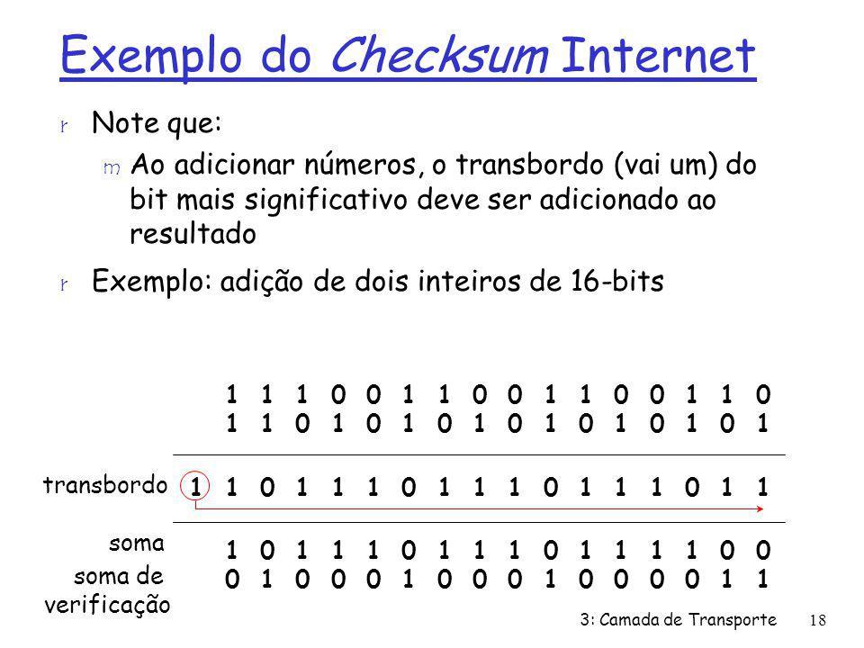 Exemplo do Checksum Internet r Note que: m Ao adicionar números, o transbordo (vai um) do bit mais significativo deve ser adicionado ao resultado r Ex