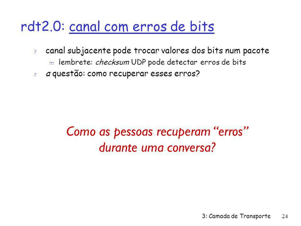 rdt2.0: canal com erros de bits r canal subjacente pode trocar valores dos bits num pacote m lembrete: checksum UDP pode detectar erros de bits r a qu