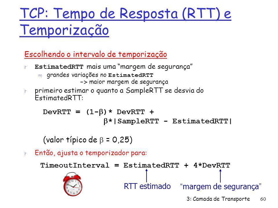 TCP: Tempo de Resposta (RTT) e Temporização Escolhendo o intervalo de temporização EstimatedRTT mais uma margem de segurança grandes variações no Esti