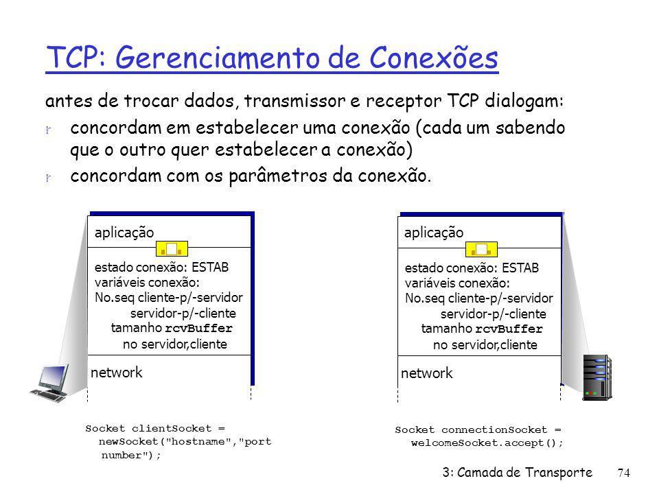 TCP: Gerenciamento de Conexões antes de trocar dados, transmissor e receptor TCP dialogam: r concordam em estabelecer uma conexão (cada um sabendo que