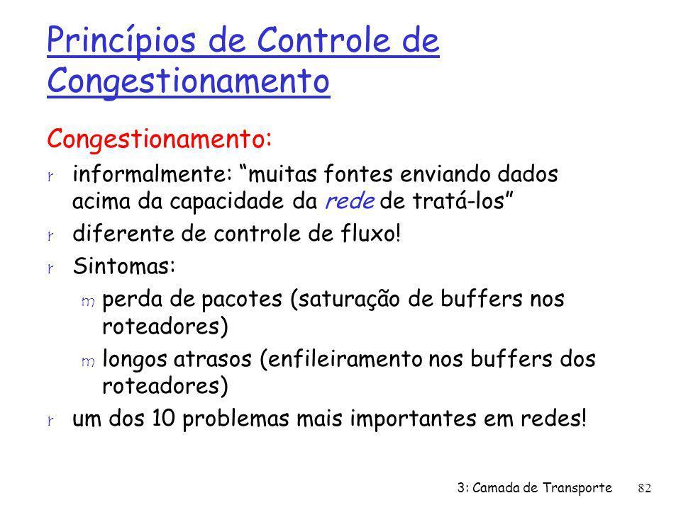Princípios de Controle de Congestionamento Congestionamento: r informalmente: muitas fontes enviando dados acima da capacidade da rede de tratá-los r