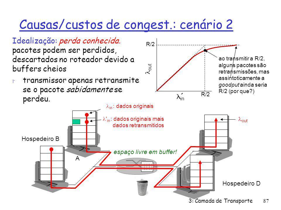 Causas/custos de congest.: cenário 2 Idealização: perda conhecida. pacotes podem ser perdidos, descartados no roteador devido a buffers cheios r trans