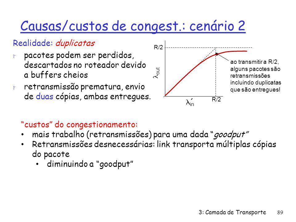 Causas/custos de congest.: cenário 2 Realidade: duplicatas r pacotes podem ser perdidos, descartados no roteador devido a buffers cheios r retransmiss