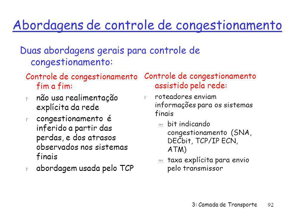 Abordagens de controle de congestionamento Controle de congestionamento fim a fim: r não usa realimentação explícita da rede r congestionamento é infe