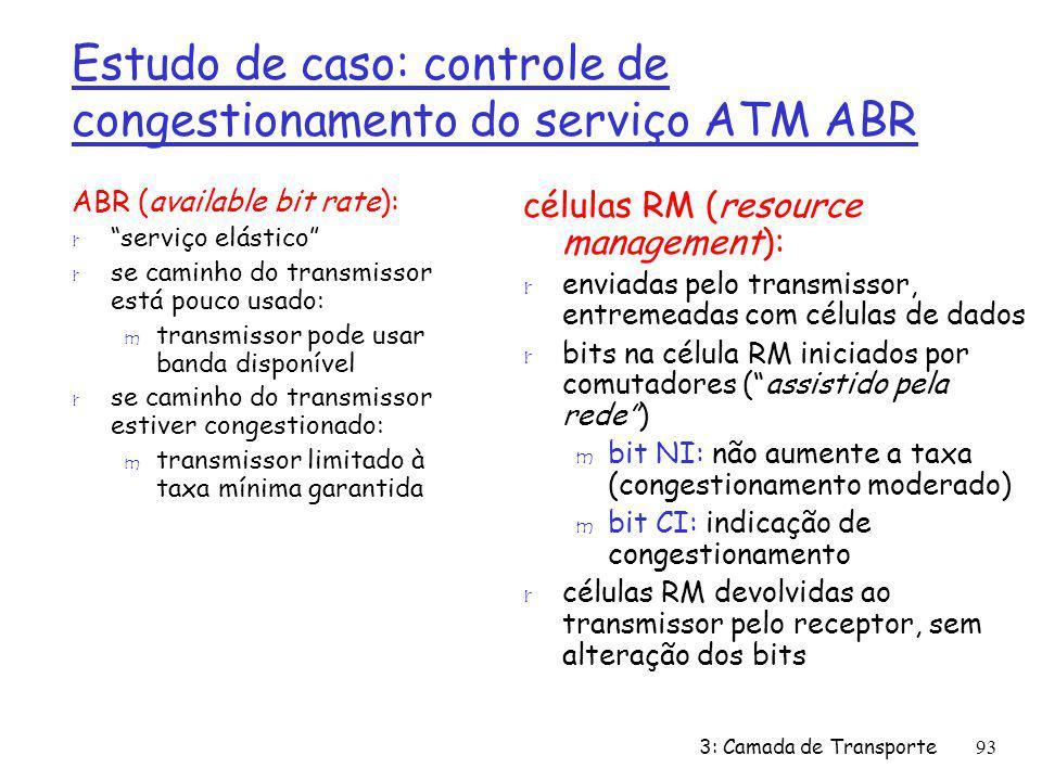 Estudo de caso: controle de congestionamento do serviço ATM ABR ABR (available bit rate): r serviço elástico r se caminho do transmissor está pouco us