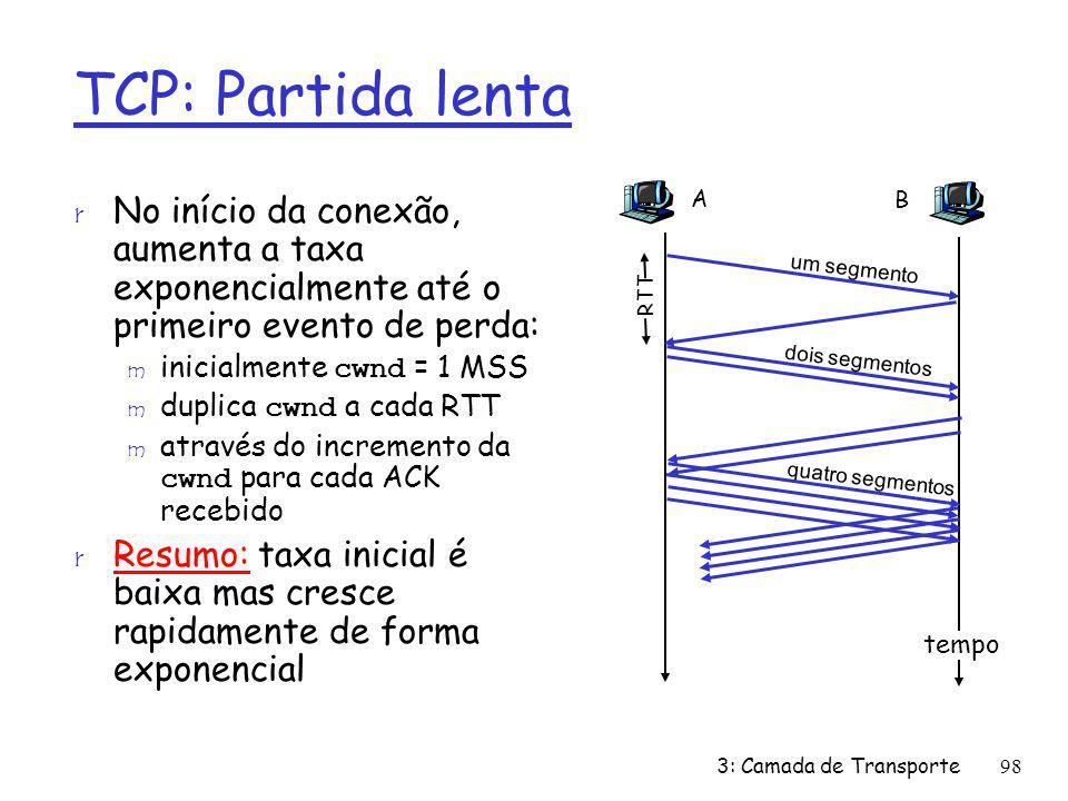 r No início da conexão, aumenta a taxa exponencialmente até o primeiro evento de perda: inicialmente cwnd = 1 MSS duplica cwnd a cada RTT através do i