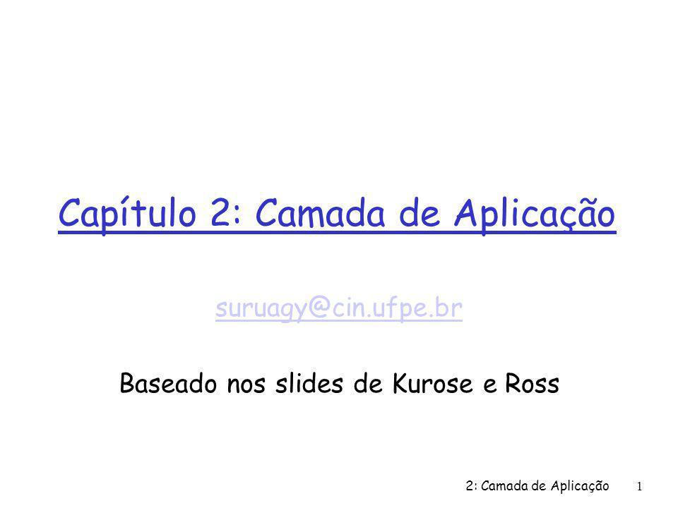 Capítulo 2: Camada de Aplicação suruagy@cin.ufpe.br Baseado nos slides de Kurose e Ross 2: Camada de Aplicação1