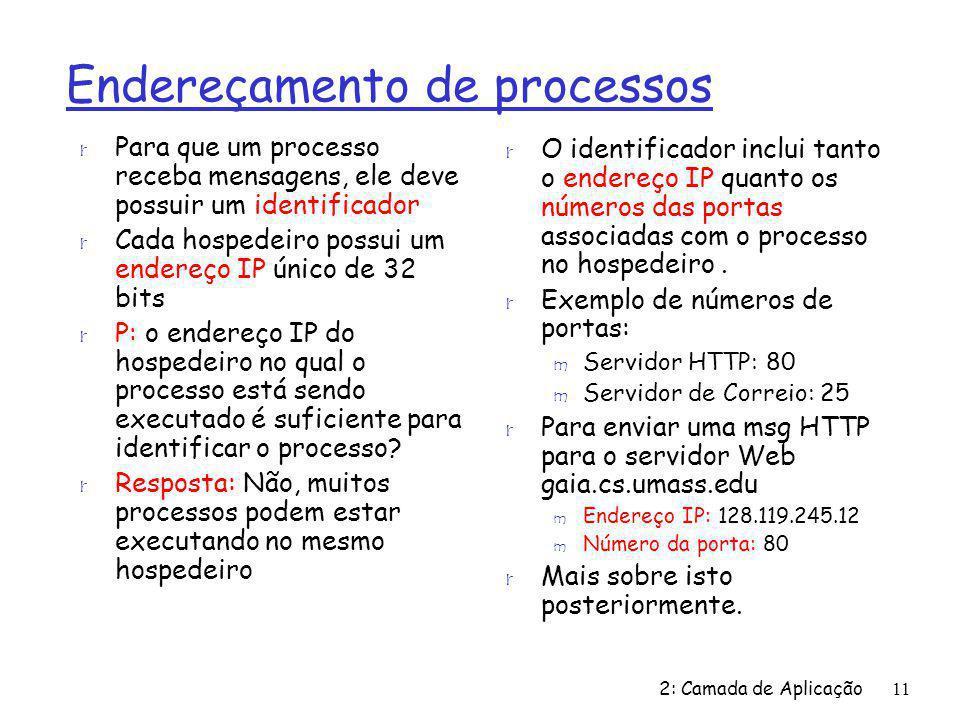 2: Camada de Aplicação11 Endereçamento de processos r Para que um processo receba mensagens, ele deve possuir um identificador r Cada hospedeiro possui um endereço IP único de 32 bits r P: o endereço IP do hospedeiro no qual o processo está sendo executado é suficiente para identificar o processo.