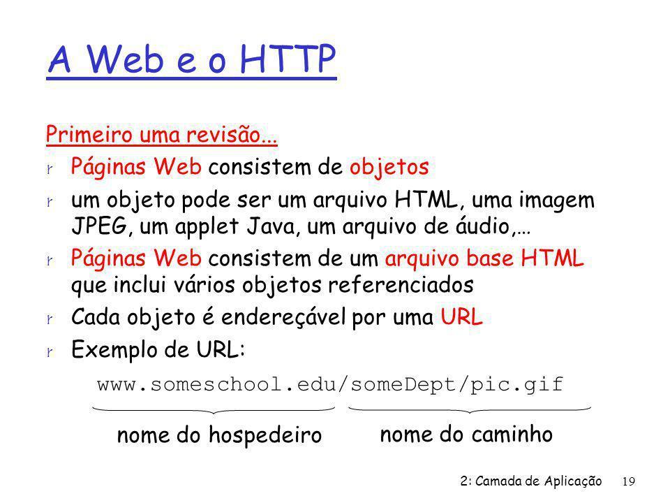 2: Camada de Aplicação19 A Web e o HTTP Primeiro uma revisão... r Páginas Web consistem de objetos r um objeto pode ser um arquivo HTML, uma imagem JP