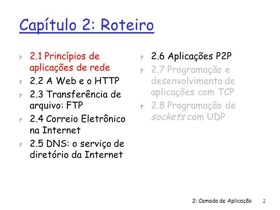 2 Capítulo 2: Roteiro r 2.1 Princípios de aplicações de rede r 2.2 A Web e o HTTP r 2.3 Transferência de arquivo: FTP r 2.4 Correio Eletrônico na Internet r 2.5 DNS: o serviço de diretório da Internet r 2.6 Aplicações P2P r 2.7 Programação e desenvolvimento de aplicações com TCP r 2.8 Programação de sockets com UDP