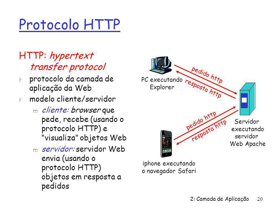 2: Camada de Aplicação20 Protocolo HTTP HTTP: hypertext transfer protocol r protocolo da camada de aplicação da Web r modelo cliente/servidor m client