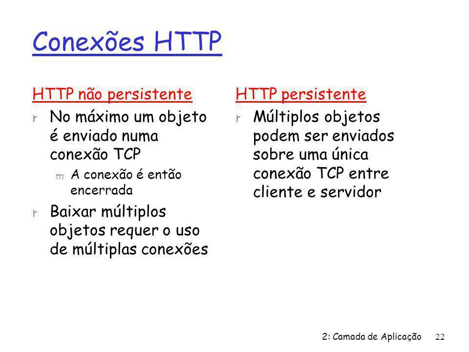 2: Camada de Aplicação22 Conexões HTTP HTTP não persistente r No máximo um objeto é enviado numa conexão TCP m A conexão é então encerrada r Baixar múltiplos objetos requer o uso de múltiplas conexões HTTP persistente r Múltiplos objetos podem ser enviados sobre uma única conexão TCP entre cliente e servidor