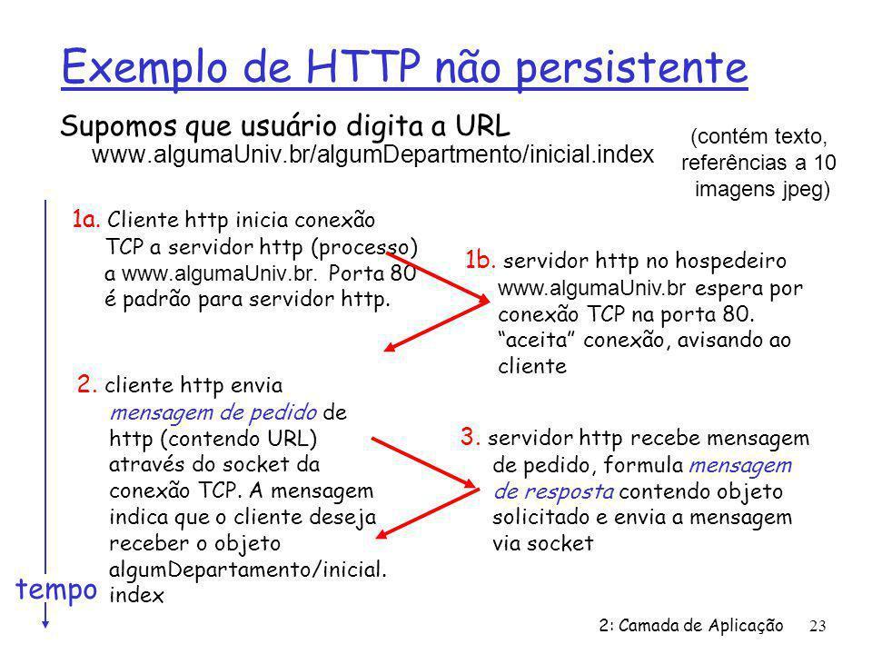 2: Camada de Aplicação23 Exemplo de HTTP não persistente Supomos que usuário digita a URL www.algumaUniv.br/algumDepartmento/inicial.index 1a. Cliente